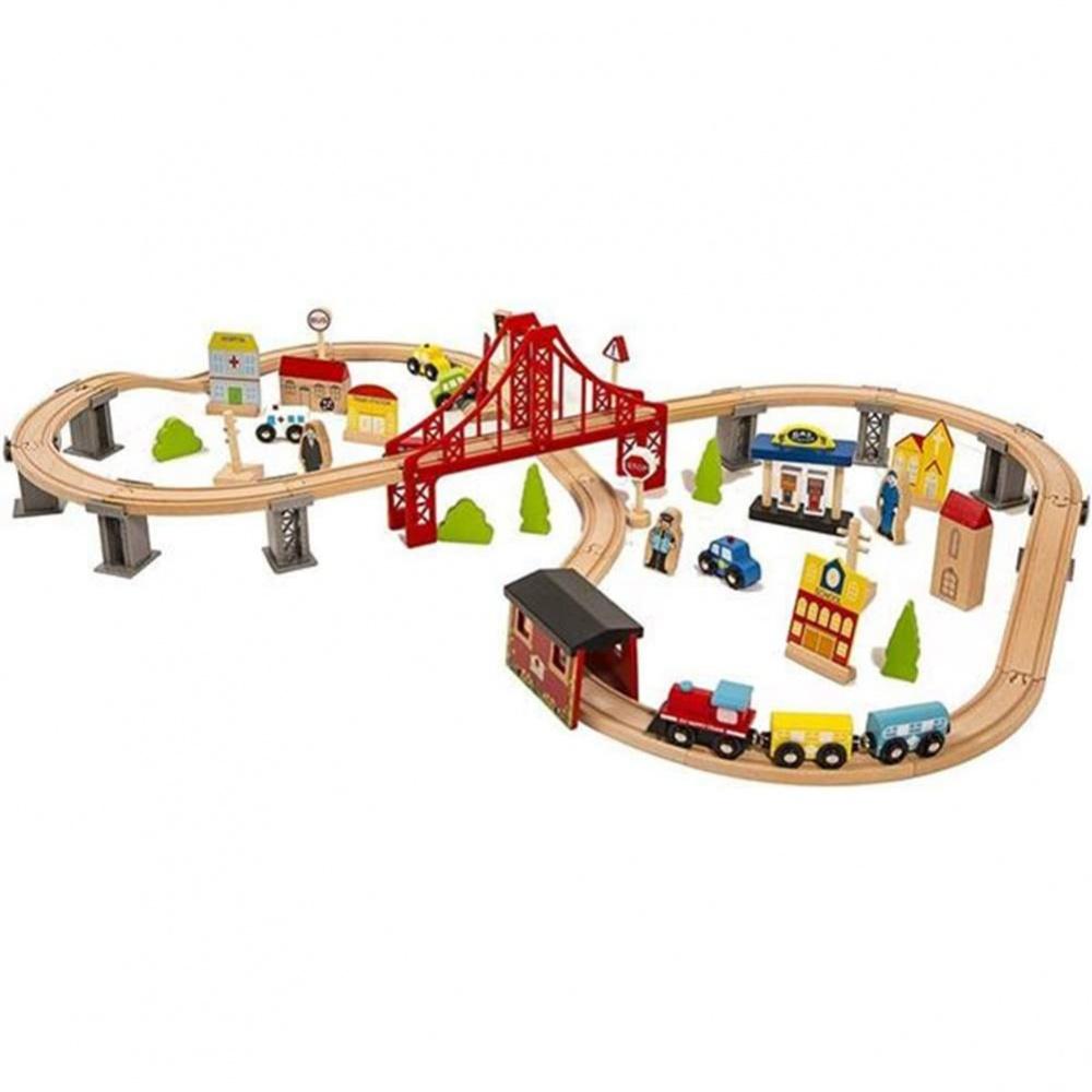 Τρένο ξύλινο με γραμμές 70τεμ.