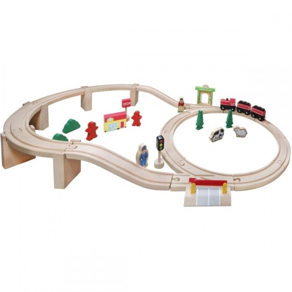 Τρένο με γραμμές ξύλινο 38τεμ